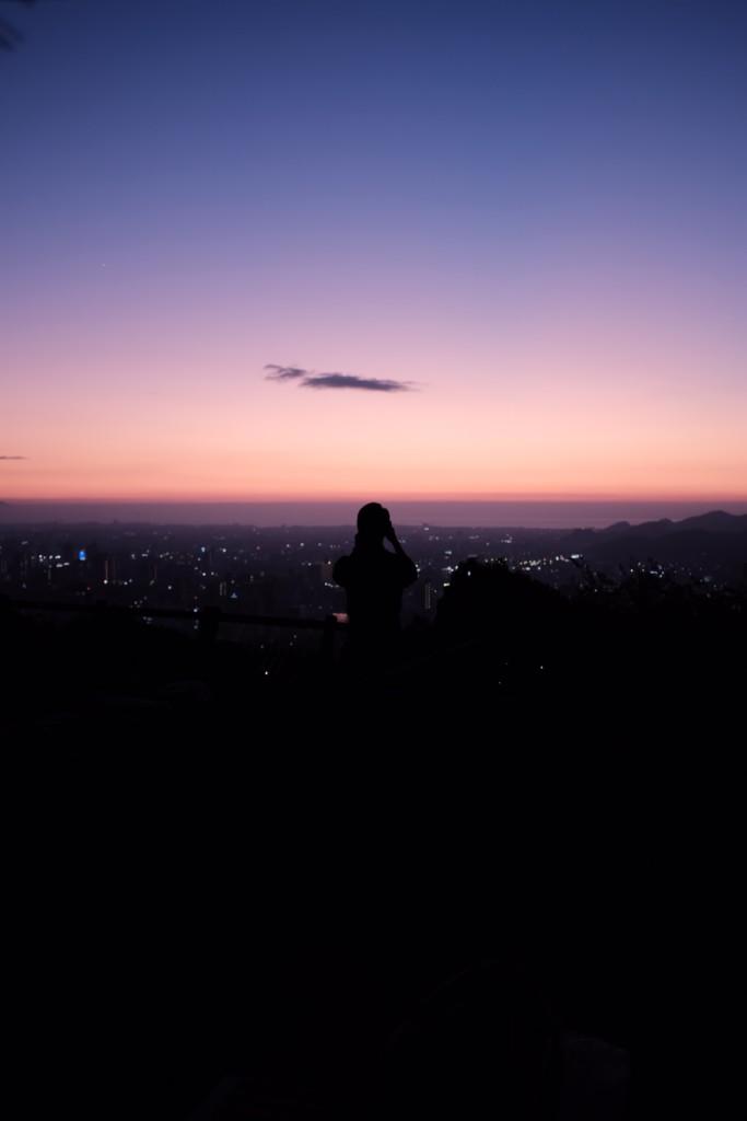 夜景を見渡す人
