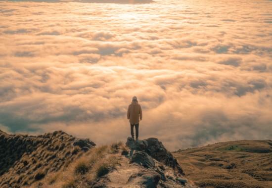 山頂から景色を見る人